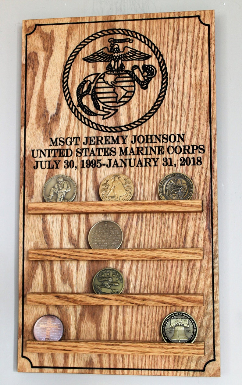 Extra Large Rustic American Flag Challenge Coin Display for Marines
