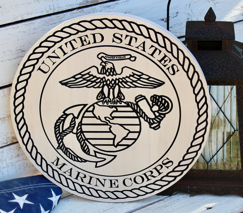 United States Marine Corps Plaque  solid Wood High Quality