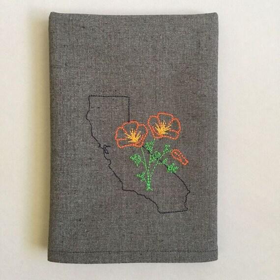California Poppy Embroidered Towel Tea Towel Kitchen Towel