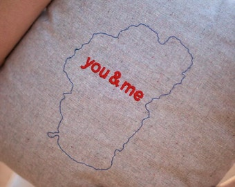 Embroidered Lake Tahoe You & Me Pillow in Hemp and Organic Cotton