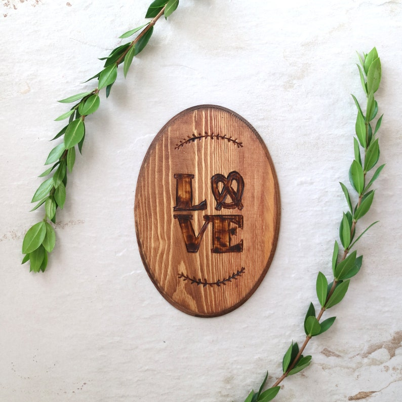 Love Plaque / Wall Art / Wood Burn / Hand Made / Housewarming image 0