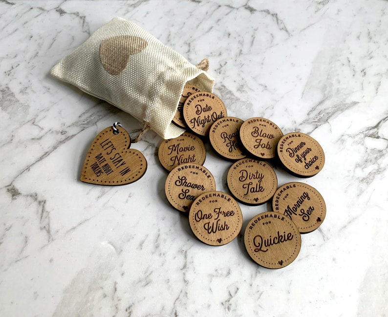 Dirty Valentines Date Night In Love Tokens  Personalized  image 0