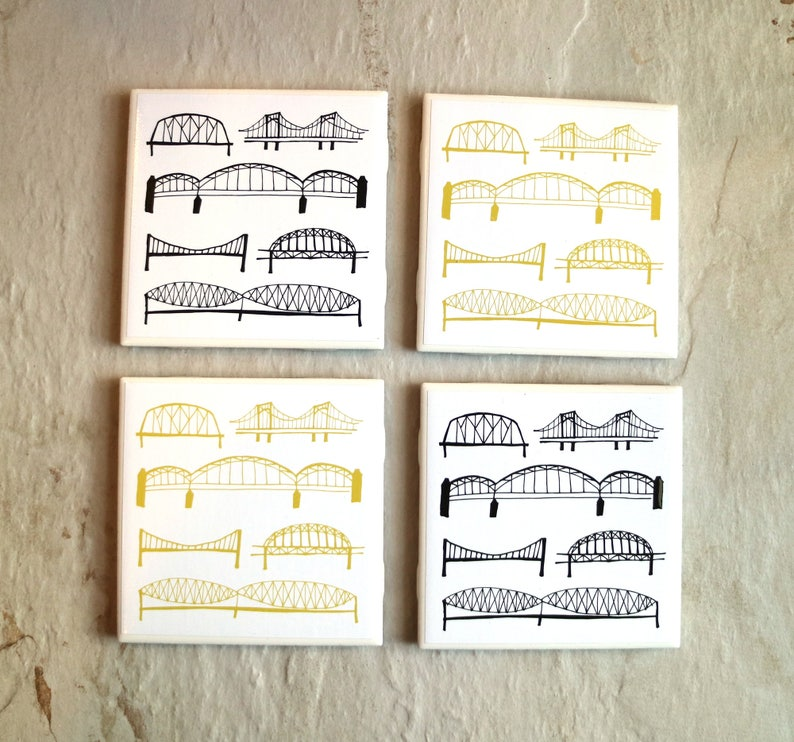 Pittsburgh Bridge Coaster Set / Pittsburgh Coasters / Handmade image 0