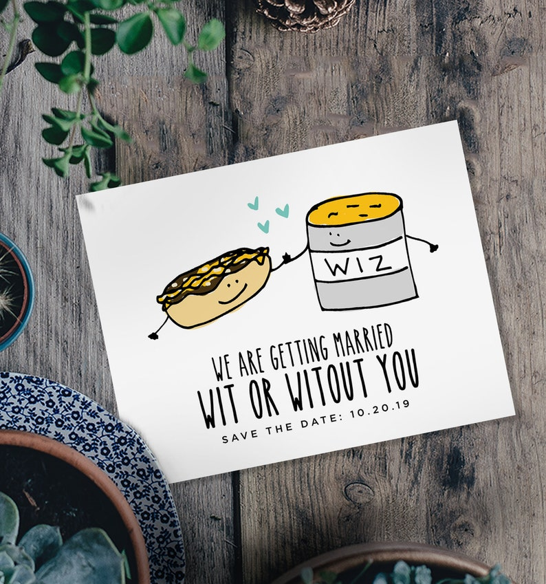 Wit or Witout You Save the Date  / Custom Postcard / image 0