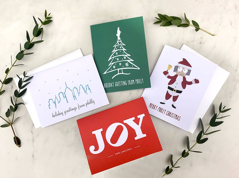 Philly Holiday Card Set of 8 with Shimmer White Envelope  Box image 0