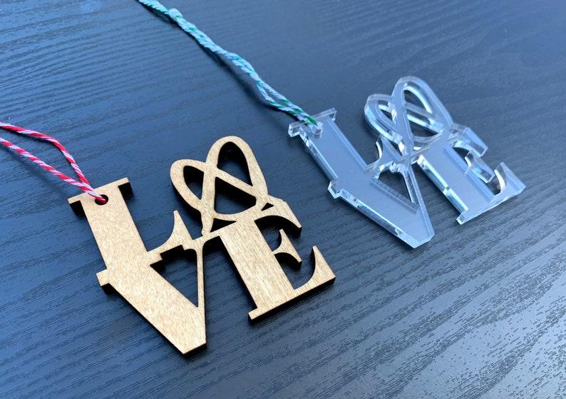 Philadelphia LOVE Ornament  / Wedding / Christmas / Secret image 0