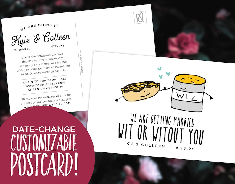Wit or Witout You Postponed Wedding Save the Date  / Date image 0