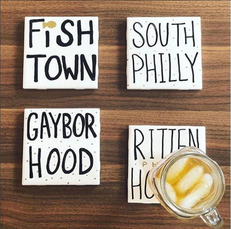 Set of 4 Custom Coasters / Philly Pittsburgh New York San image 0