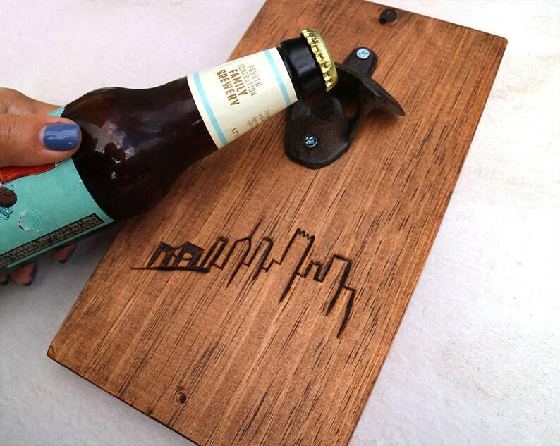 Pittsburgh Skyline Bottle Opener  handmade wood burn  image 0