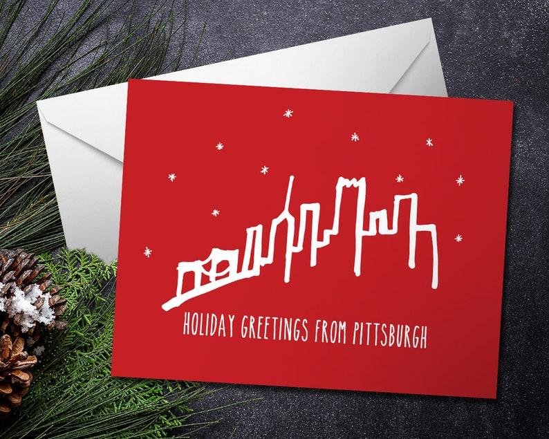 Pittsburgh Skyline Holiday Card / Yinz / Blank Inside image 0