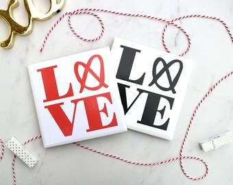 Set of 4 Philly Love Coasters   Valentine's day gift   Housewarming   Galentine   Love   Philadelphia Souvenir