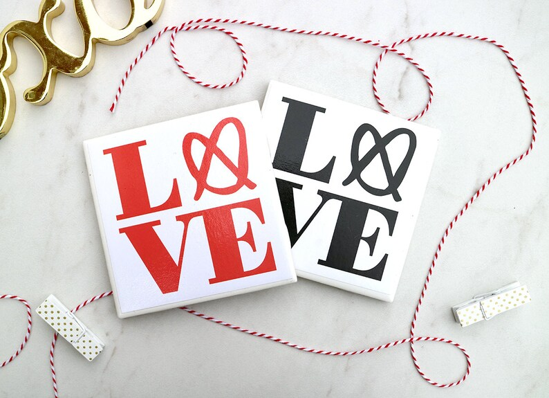 Set of 4 Philly Love Coasters  Valentine's day gift  image 0