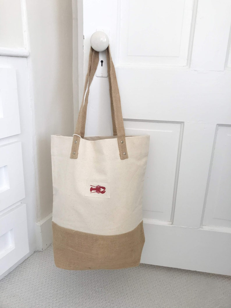 Red Lobster Tote Bag Jute and Canvas tote bag 2 styles