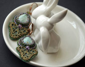 Bead Embroidery Earrings with Jasper and Fluorite