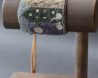 Made To Order Amsterdam on a Bike Bead Embroidery Bracelet, Bead Embroidery Cuff, Scenic Jewellery
