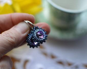 Pink Crystal Beaded Earrings, Dangle and Drop Elegant Earrings, Anniversary Gift for Wife