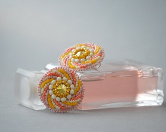 Mademoiselle = Bead Embroidery Earrings with Swarovski Crystals