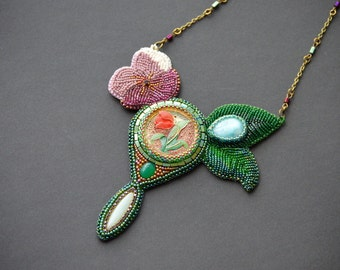 Enchanted Summer -  Bead Embroidery Necklace