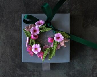 Pink Flower Beaded Bracelet, Summer Floral Bracelet, Cottagecore  Floral Jewelry Gift, Flower Girl Bracelet
