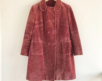 Woman/'s Brown And Yellow Cotton Corduroy Jacket 70/'s Pattern Jacket Vintage Italian Akaba Corduroy Trenchcoat Size L