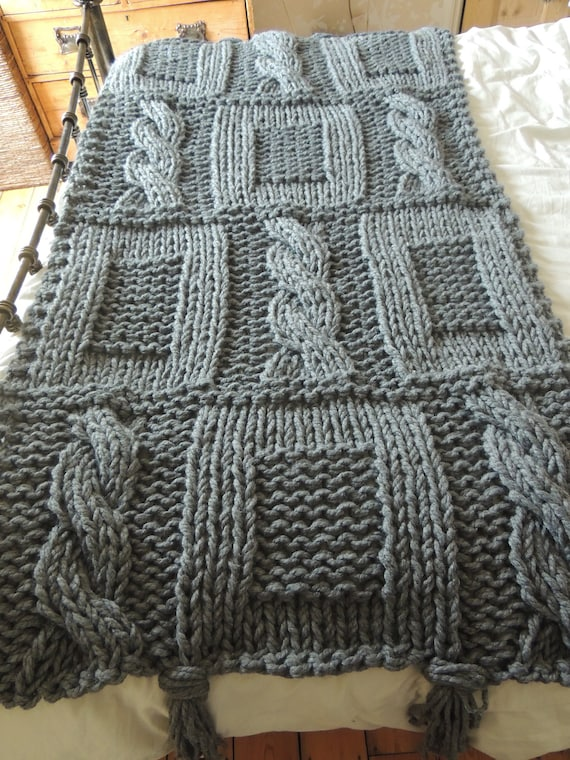 Items similar to Chunky Grey Hand Knitted Blanket / Double ...