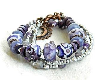 Purple Boho bracelet with Artisan Lampwork beads Amethyst Multi strand beaded bracelet Bohemian Glass bead bracelet Boho Chic Wedding