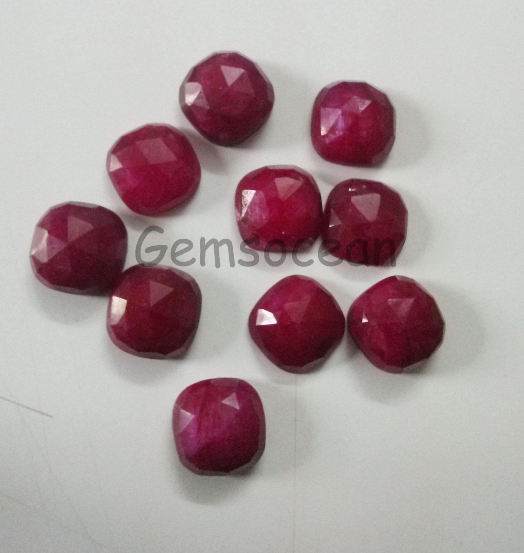Lot de superbes 10 pièces qualité AAA rubis 8 x Cut 8 mm Coussin Rose Cut x calibré de pierres précieuses en vrac 3f161d