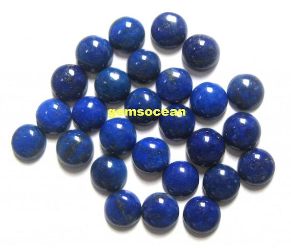 3X3mm To 10X10mm Natural Lapis Lazuli Round Cabochon Loose Gemstone Lot