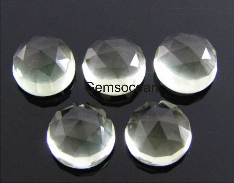 Lot Of Stunning AAA QualitY 25 Pieces Natural Green Amethyst 7x7 MM Round Rose Cut Loose Gemstone