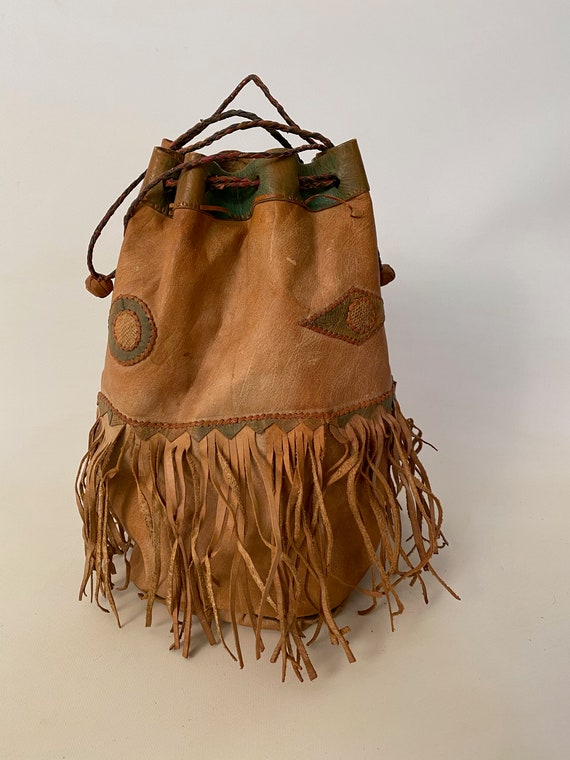 1960s Leather Fringe Drawstring Pouch Bag