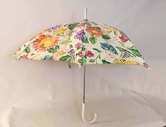 1970s Silk Screen Novelty Print Floral Umbrella