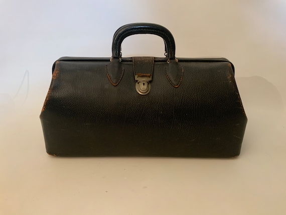 1960s Black Leather Top Handle Doctor's Bag