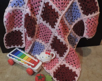 Rose, Burgundy, Pink and Lavender Granny Square Crochet Baby Blanket