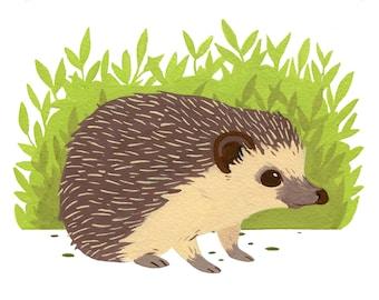 Original Hedgehog Gouache Painting