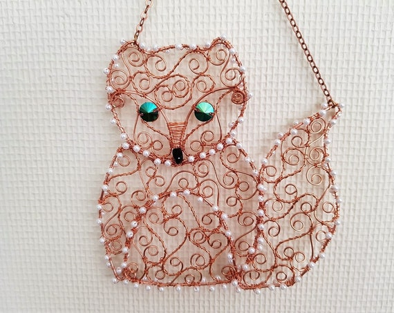 Cute Fox Cub Suncatcher Handmade with Copper Wire, Swarovski Crystal Eyes and Nose,Seed Bead Detail