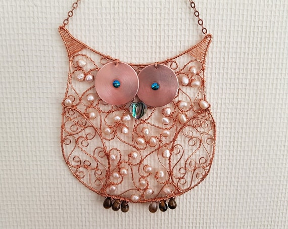 Cute Baby Owl Suncatcher Handmade with Copper Featuring Freshwater Pearls Tiger's Eye, Abalone and Swarovski Crytals