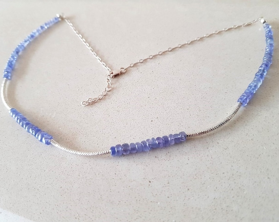 Dainty Tanzanite and Silver Necklace Gift For Her December Birthstone Gemstone Necklace Wedding Jewellery