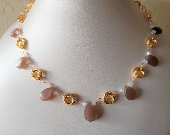 Mocha Moonstone  with Opal Coloured Swarovski and Gold Chain Maille