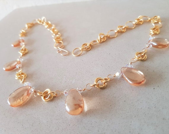 Gold Quartz and Swarovski Crystal Chain Maille Necklace