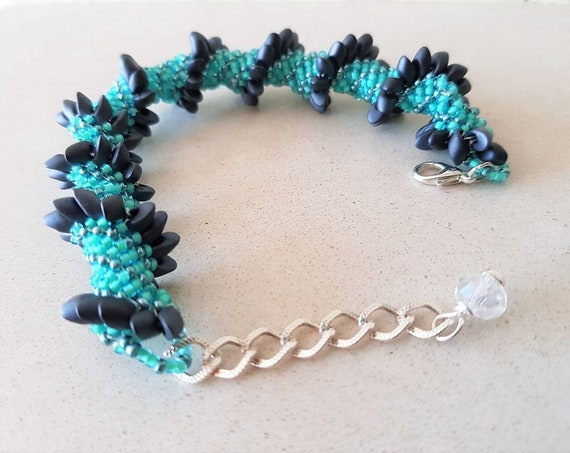Seed Bead Bracelet Featuring Turquoise and Smokey Grey Colours with Silver Extender Chain