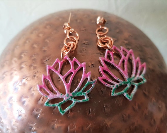 Enamelled Copper Lotus Flower Earrings
