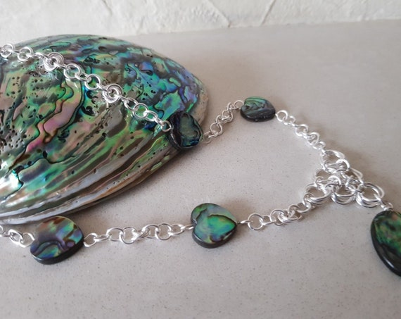 Abalone Hearts and Oval Silver Chain Maille Necklace Gift for Her Shell Necklace Statement