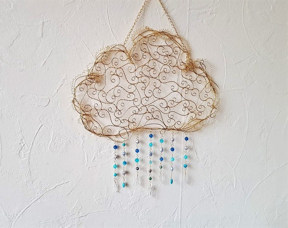 Cloud Wall / Window Art Sun Catcher Featuring Brass Wire Freshwater Pearls, Quartz, Agate and Jasper Rain Drops