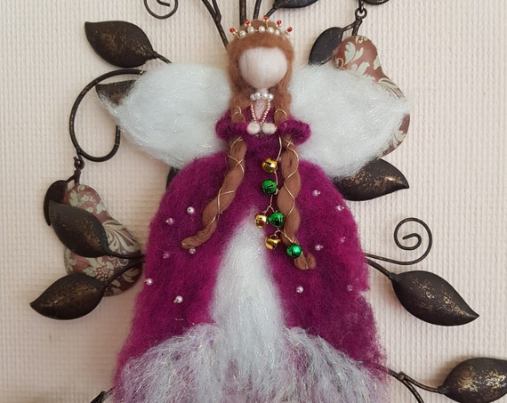 Hand Crafted Needle Felted Fairy with Crystal Tiara Christmas / Holidays