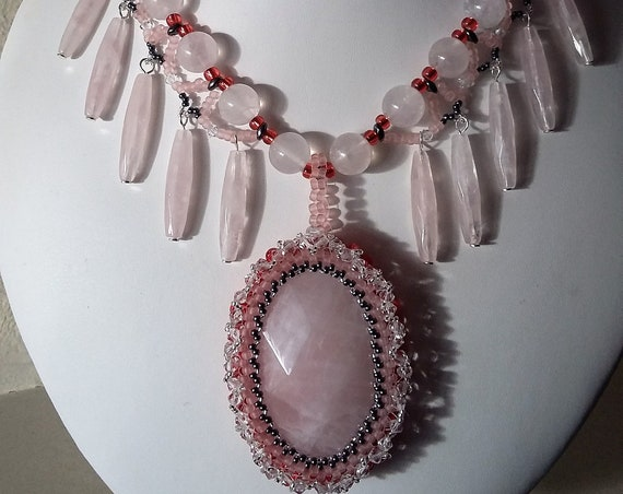 Rose Quartz Necklace with Drops and Oval Pendent, Gift for Her, Mothers Day,  Healing Crystal