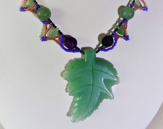 Green Aventurine Carved Leaf Pendent, Purple Druzie and Bronze and Purple Seed Beads, Gift for Her, Mothers Day,  Healing Crystal