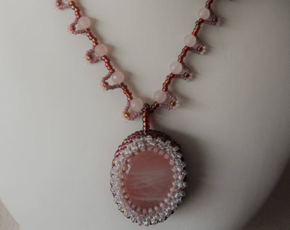 Rose Quartz Pendent Encrusted with Crystal Seed Beads,Gift for Her, Mothers Day,  Healing Crystal