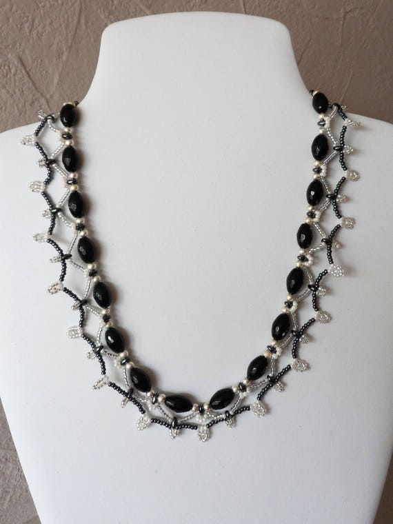 Black Agate, Silver, and Seed Bead Necklace