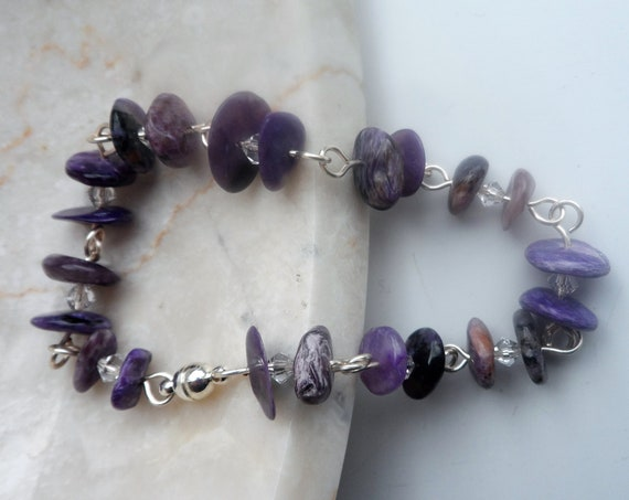 Bracelet with Charoite Discs and Swarovski Crystals Rosary Linked with Silver Plated Wire and Magnetic Clasp.Healing Crystal, Gift for Her