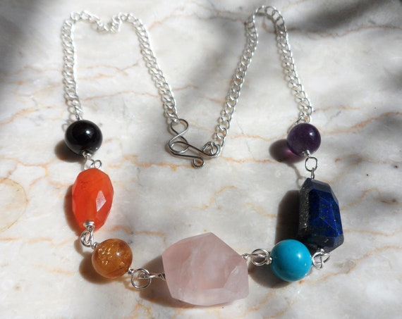 Silver Chakra Gemstone Necklace